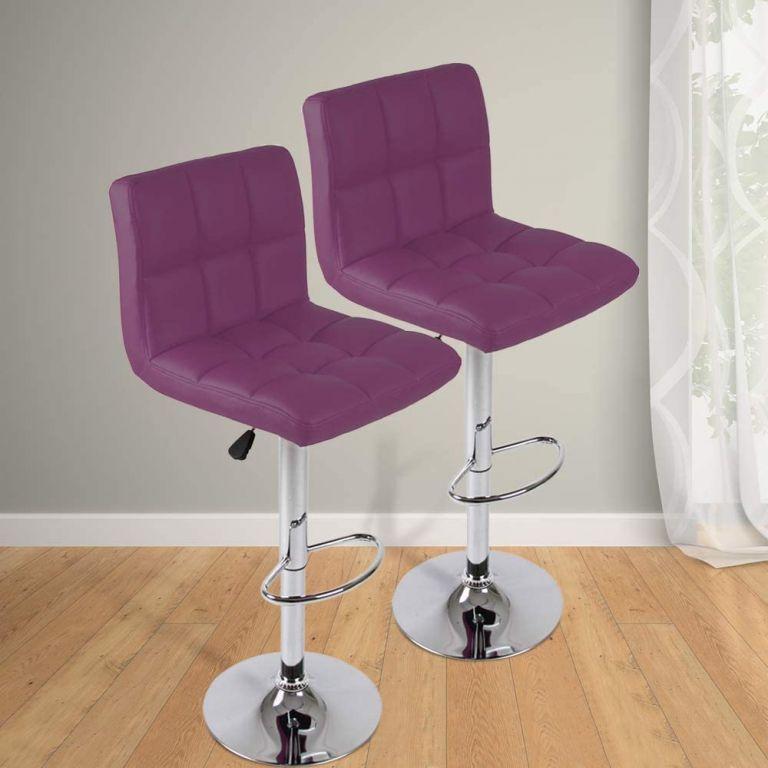 Sada barových židlí, fialová, 2 ks