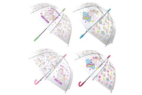 Deštník jednorožci průhledný vystřelovací
