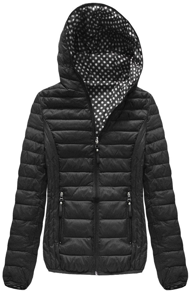 Oboustranná černá bunda s kapucí (B1502)