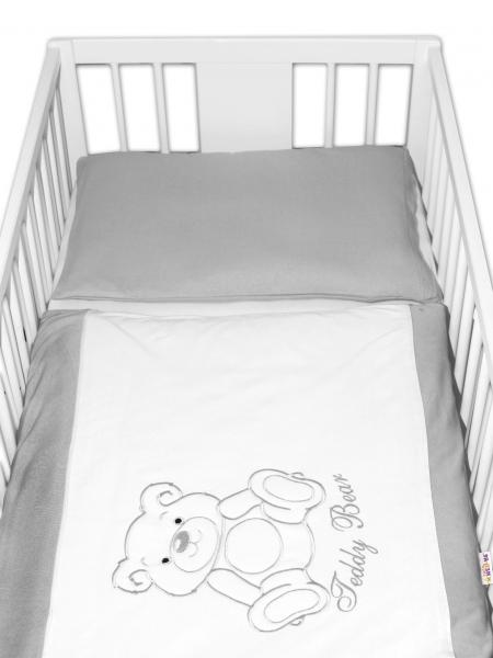 BABY NELLYS Povlečení do postýlky Teddy Bear - jersey - šedé - 120x90