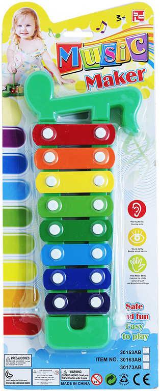 Xylofon barevný 8 kláves set s paličkou na blistru HUDEBNÍ NÁSTROJE
