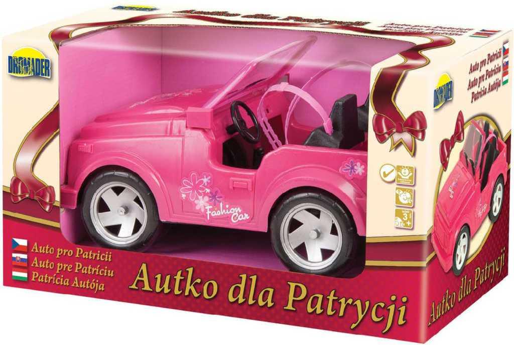 Auto pro panenky 30cm růžové na volný chod plast v krabičce
