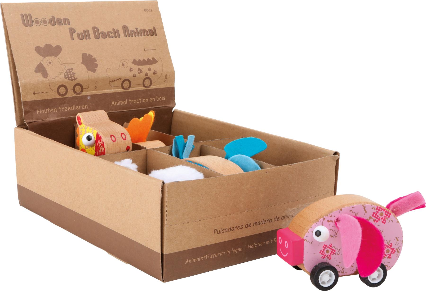 Small Foot Displej dřevěné auta zvířátka 6 ks