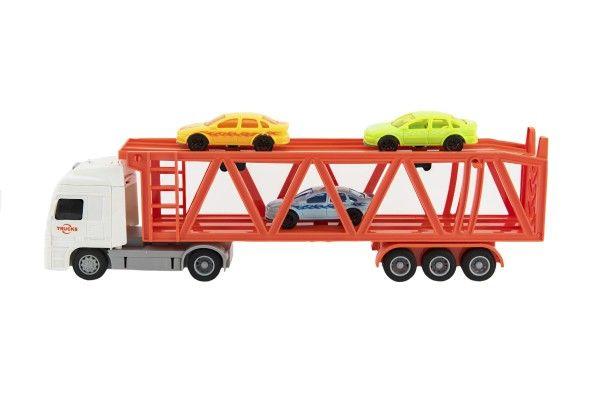 Kamion přepravník + 3 auta plast 33 cm na setrvačník