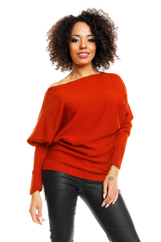 Dámský svetr s netopýřími rukávy 70003 - PeeKaBoo - Červená/uni