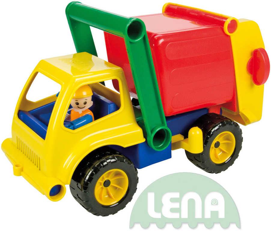 LENA Auto plastové 30cm aktivní popeláři set s panáčkem 4156