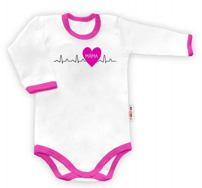 Baby Nellys Body dlouhý rukáv Máma v srdíčku - bílé/růžový lem - 48/52