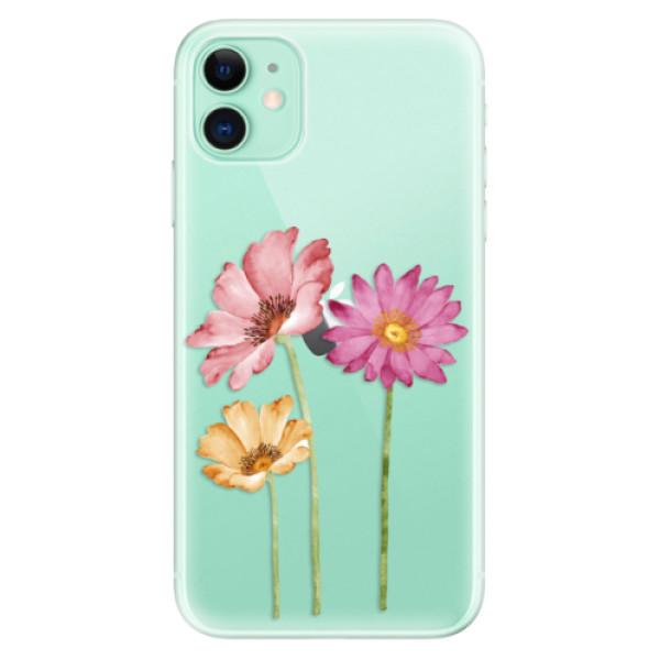 Odolné silikonové pouzdro iSaprio - Three Flowers - iPhone 11