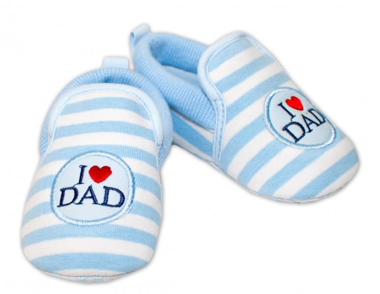 YO ! Kojenecké boty/capáčky I love Dad - modré, 6-12 měsíců - 6/12měsíců