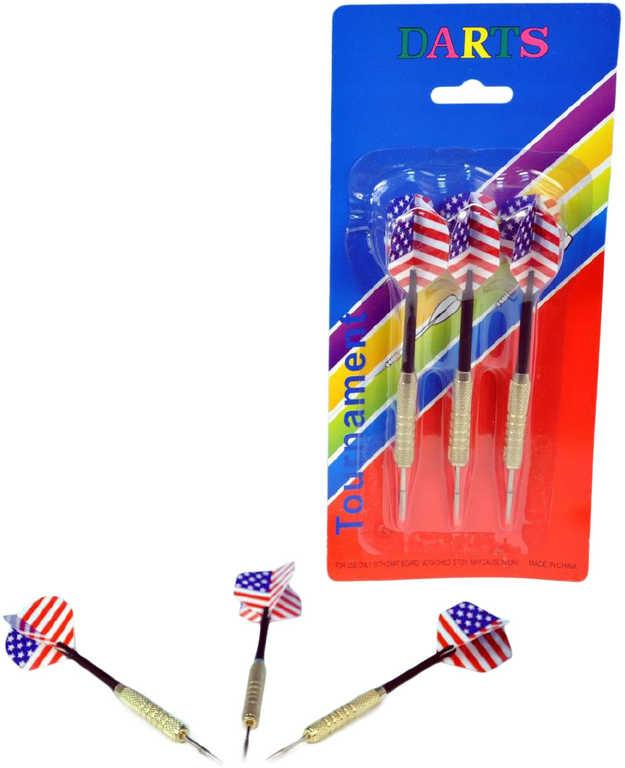 Šipky házecí 18g hrot kovový americká vlajka set 3ks na kartě