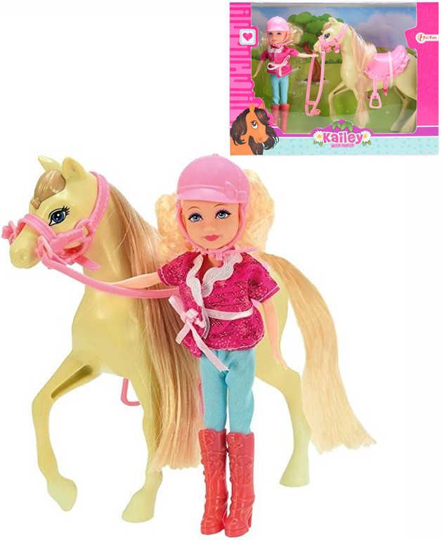 Panenka žokejka jezdecký set s osedlaným koněm v krabičce