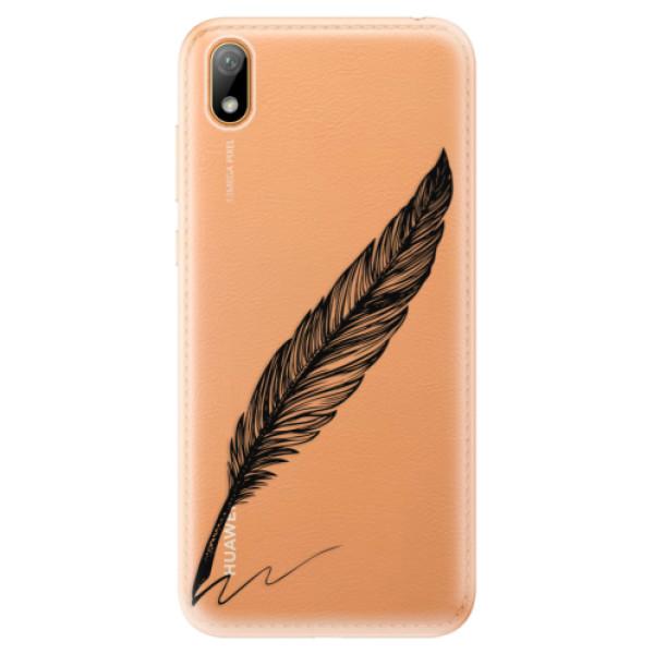 Odolné silikonové pouzdro iSaprio - Writing By Feather - black - Huawei Y5 2019