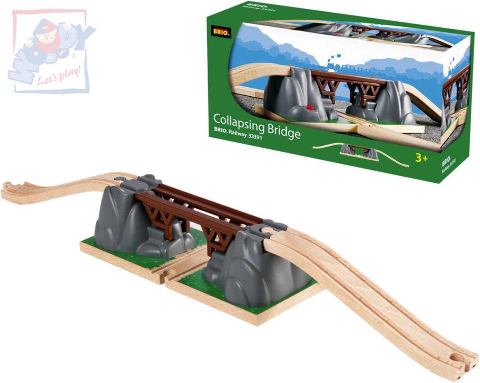 BRIO DŘEVO Železniční most padací doplněk k vláčkodráze *DŘEVĚNÉ HRAČKY*