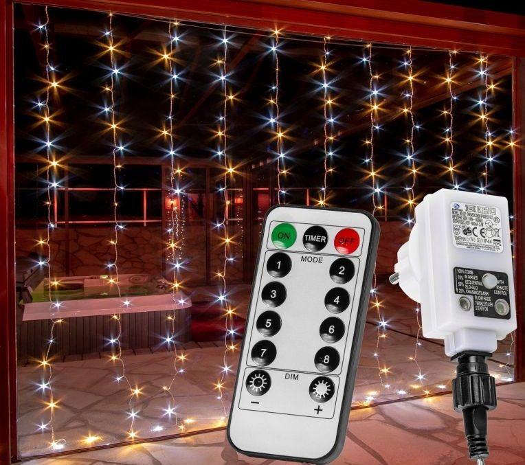Vánoční světelný závěs - 3x3 m, 300 LED, teple/studeně bílý