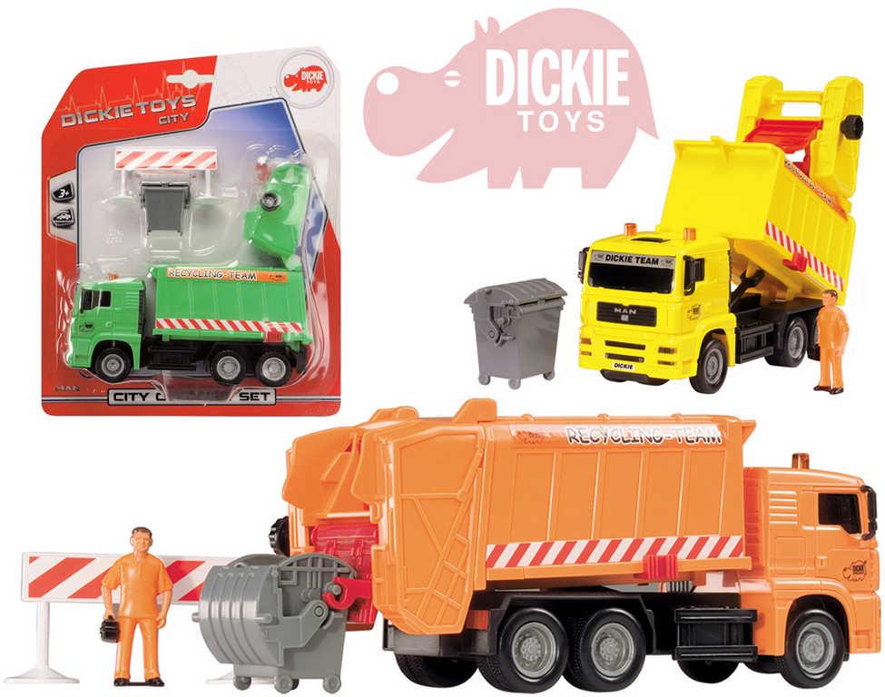 DICKIE Auto popelářské City Cleaner 22cm set s popelnicí a doplňky - 3 barvy