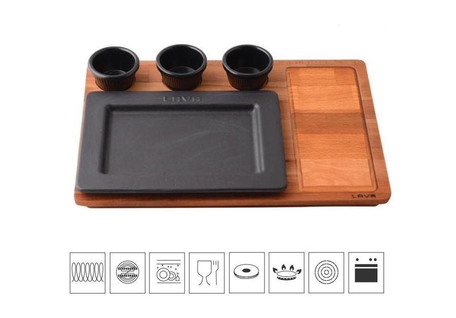 Litinový servírovací talíř 25x18 cm s dřevěným podstavcem