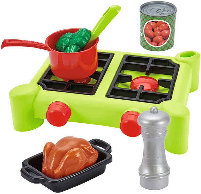ECOIFFIER Baby vařič velký plastový set 21ks s nádobím a potravinami v krabici