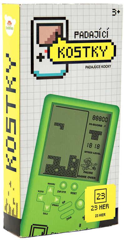 Hra retro digitální Tetris Brick Game hlavolam padající kostky na baterie Zvuk