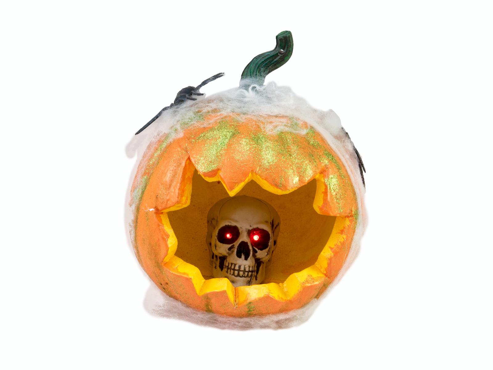 Halloween dýně v pavoučí síti s LED lebkou, 25 cm