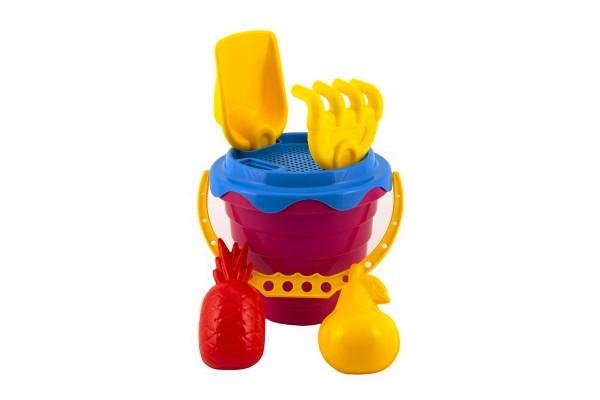 Sada na písek plast kbelík se sítkem 15x13cm, lopatka, hrabičky, 2 bábovky 4 barvy v