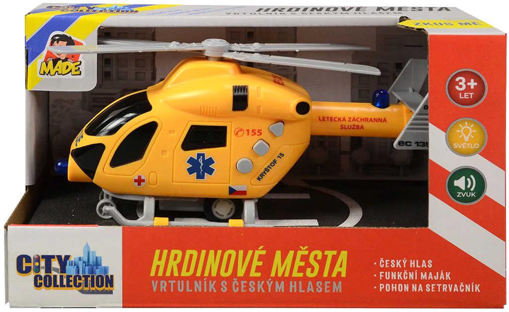 Vrtulník záchranářský 19cm s hlášením česky na baterie Světlo Zvuk CZ