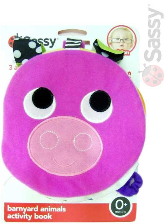 SASSY Baby knížečka textilní s aktivitami Prasátko chrastící pro miminko