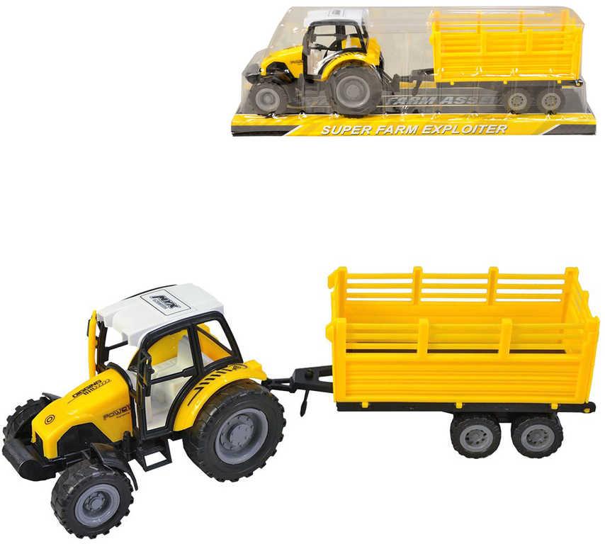 Traktor žlutý 15cm set s vlečkou na setrvačník plast v krabici