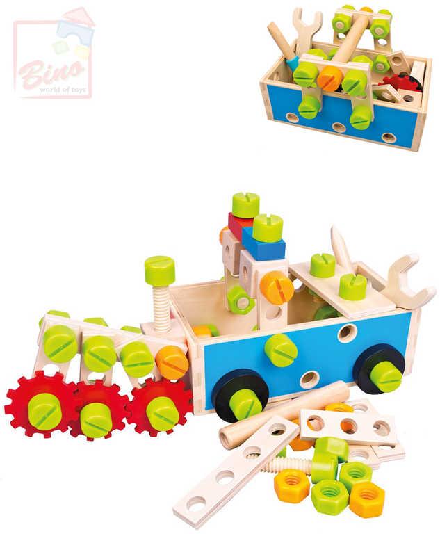 BINO DŘEVO Set dětské nářadí v přepravce šroubovací stavebnice