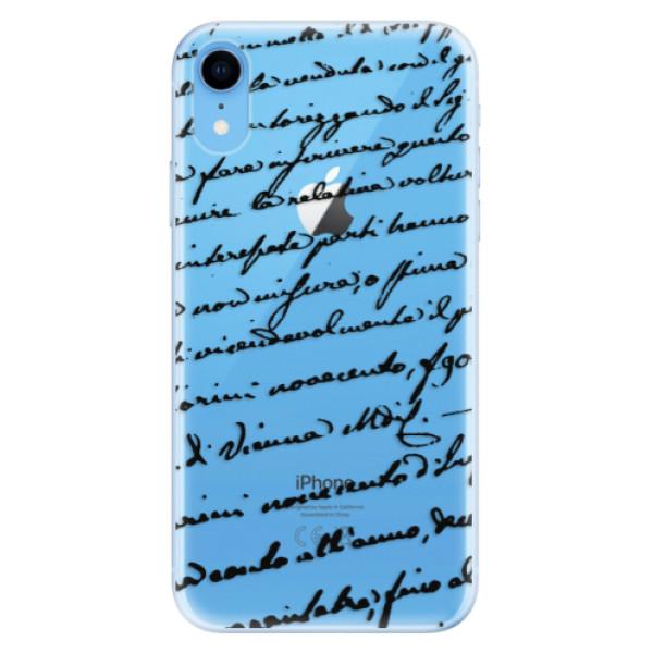 Odolné silikonové pouzdro iSaprio - Handwriting 01 - black - iPhone XR