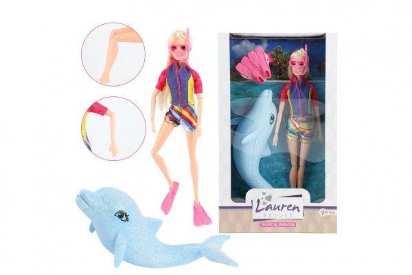 Panenka potápěčka kloubová plast 30 cm s delfínem a doplňky