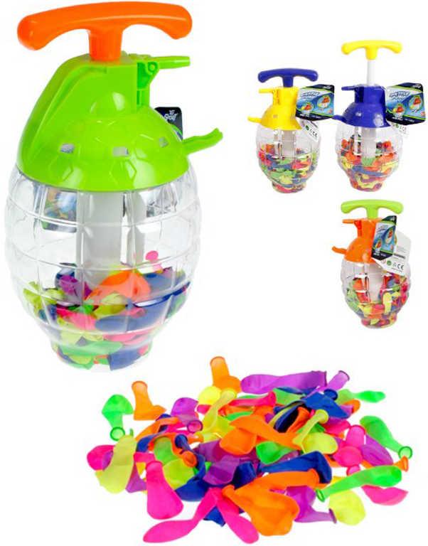 Pumpa plnič na vodní balonky set tlakovací láhev + vodní bomby 100ks 4 barvy