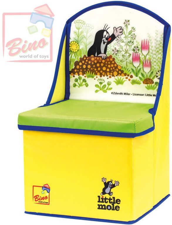 BINO KRTEK Krabice na hračky box 2v1 dětská židlička Krteček žlutá