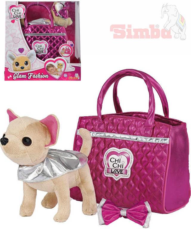 SIMBA CHI CHI LOVE Pejsek čivava Glam Fashion set s růžovou kabelkou