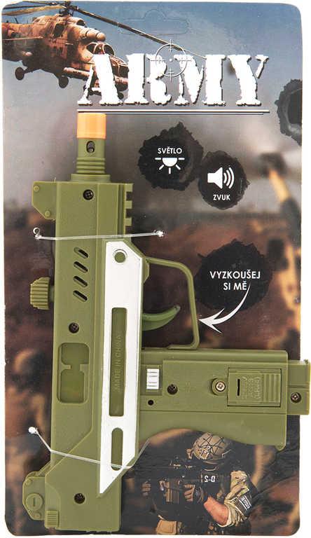 Pistole dětský samopal plastový 17,5cm na baterie Světlo Zvuk 2 barvy
