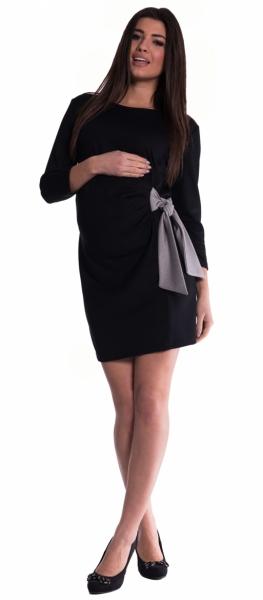 Be MaaMaa Těhotenské šaty s mašlí - černé