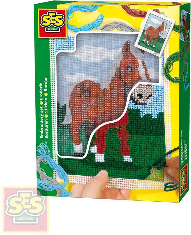 SES CREATIVE Dečka dětská vyšívací Kůň set s bavlkami malá švadlenka