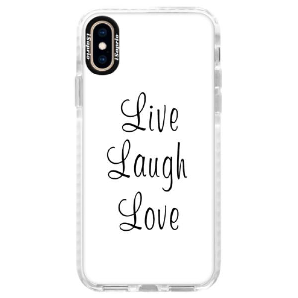 Silikonové pouzdro Bumper iSaprio - Live Laugh Love - iPhone XS