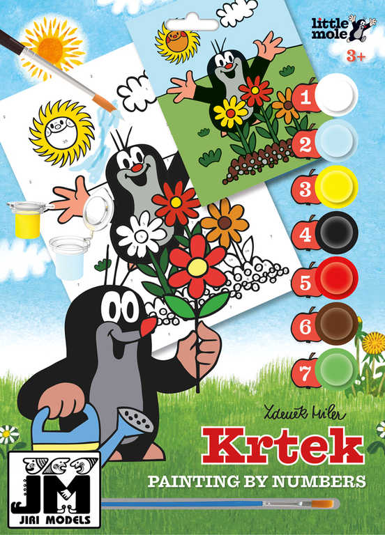 JIRI MODELS Malování podle čísel A4 Krtek (Krteček) set s barvičkami