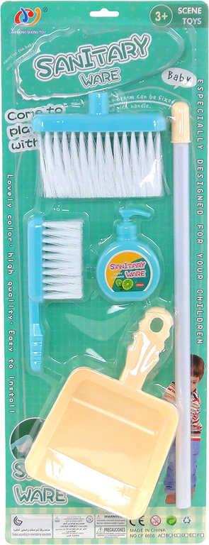 Malá uklízečka set 2 smetáky s lopatkou a mýdlem na uklízení plast na kartě