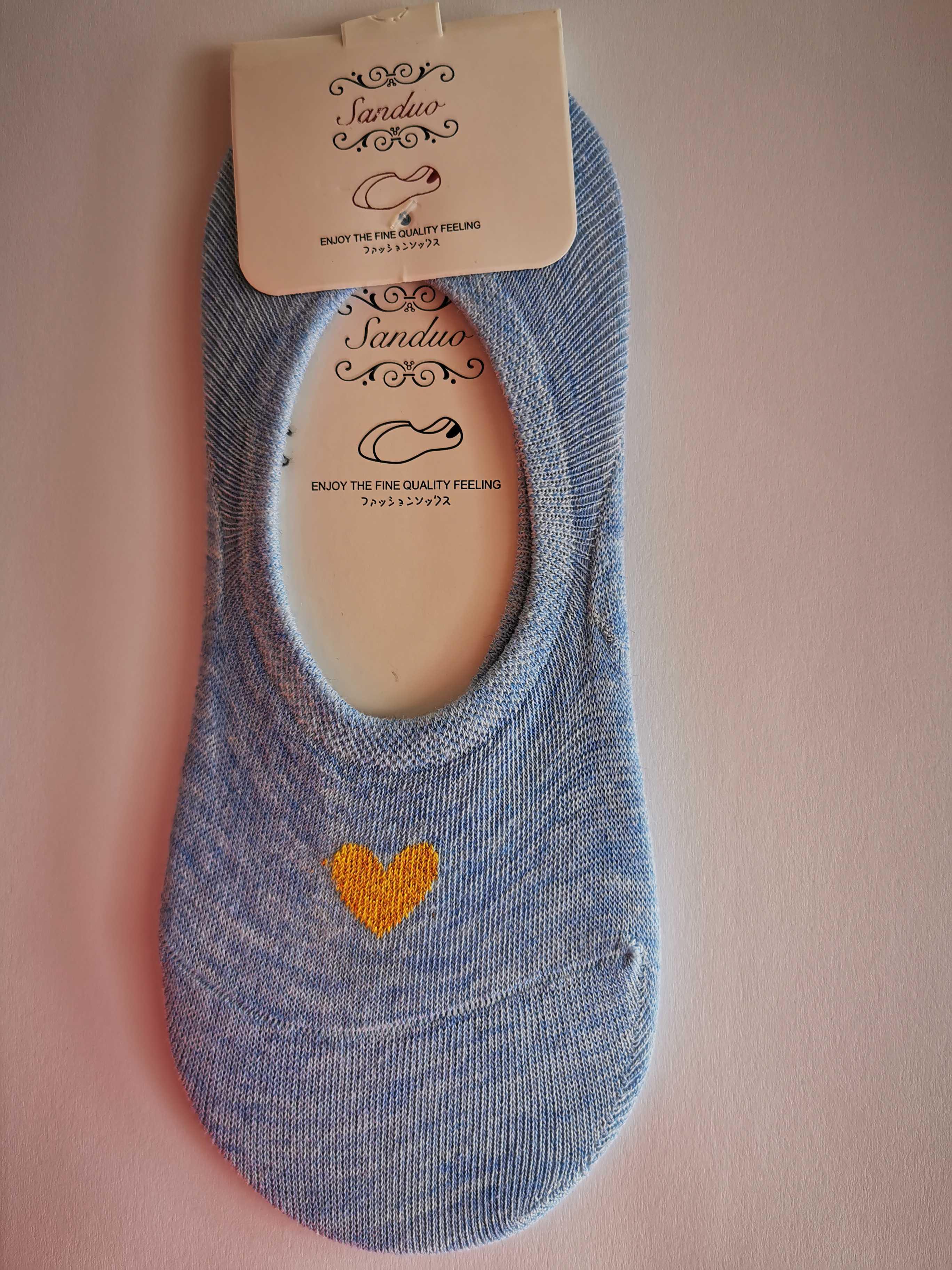 Ne-kotníkové ponožky se srdíčkem - Modrá