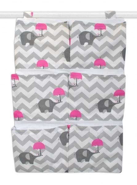 Kapsář 40 x 65 cm - Sloni zigzag šedý/ tm. růžová