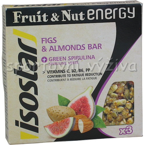 Isostar fruit & nut energy bar 3x40g-fiky-mandle-spirulina