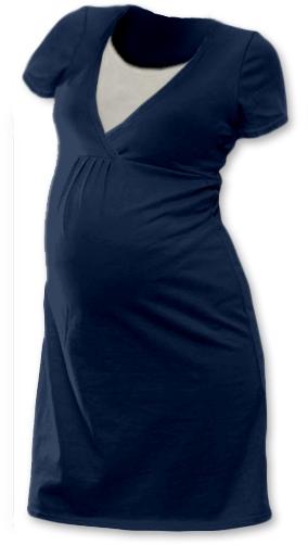 JOŽÁNEK Těhotenská, kojící noční košile JOHANKA krátký rukáv - jeans