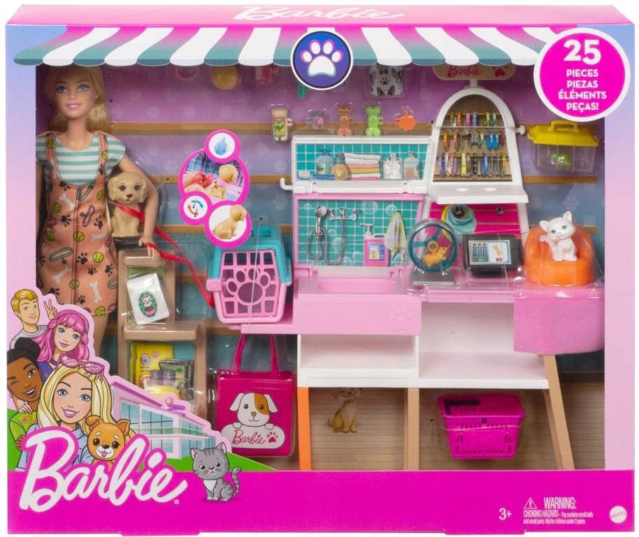 MATTEL BRB Barbie obchod pro mazlíčky set panenka se zvířátky a doplňky