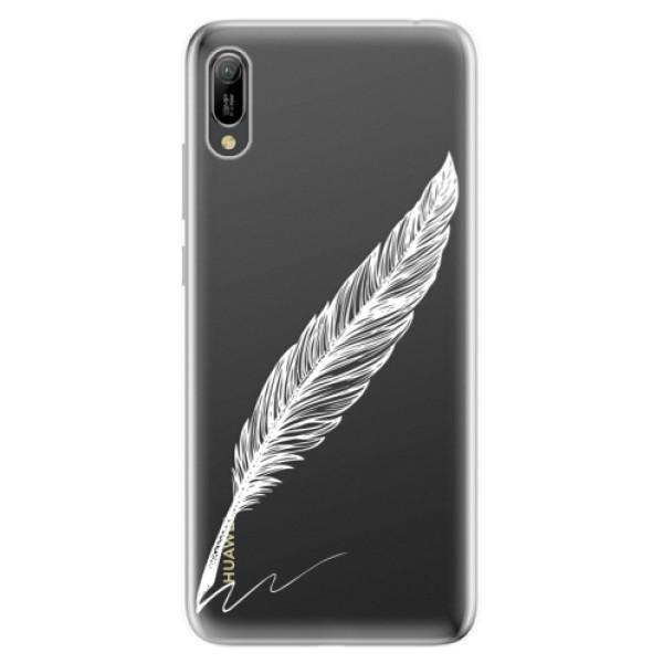 Odolné silikonové pouzdro iSaprio - Writing By Feather - white - Huawei Y6 2019