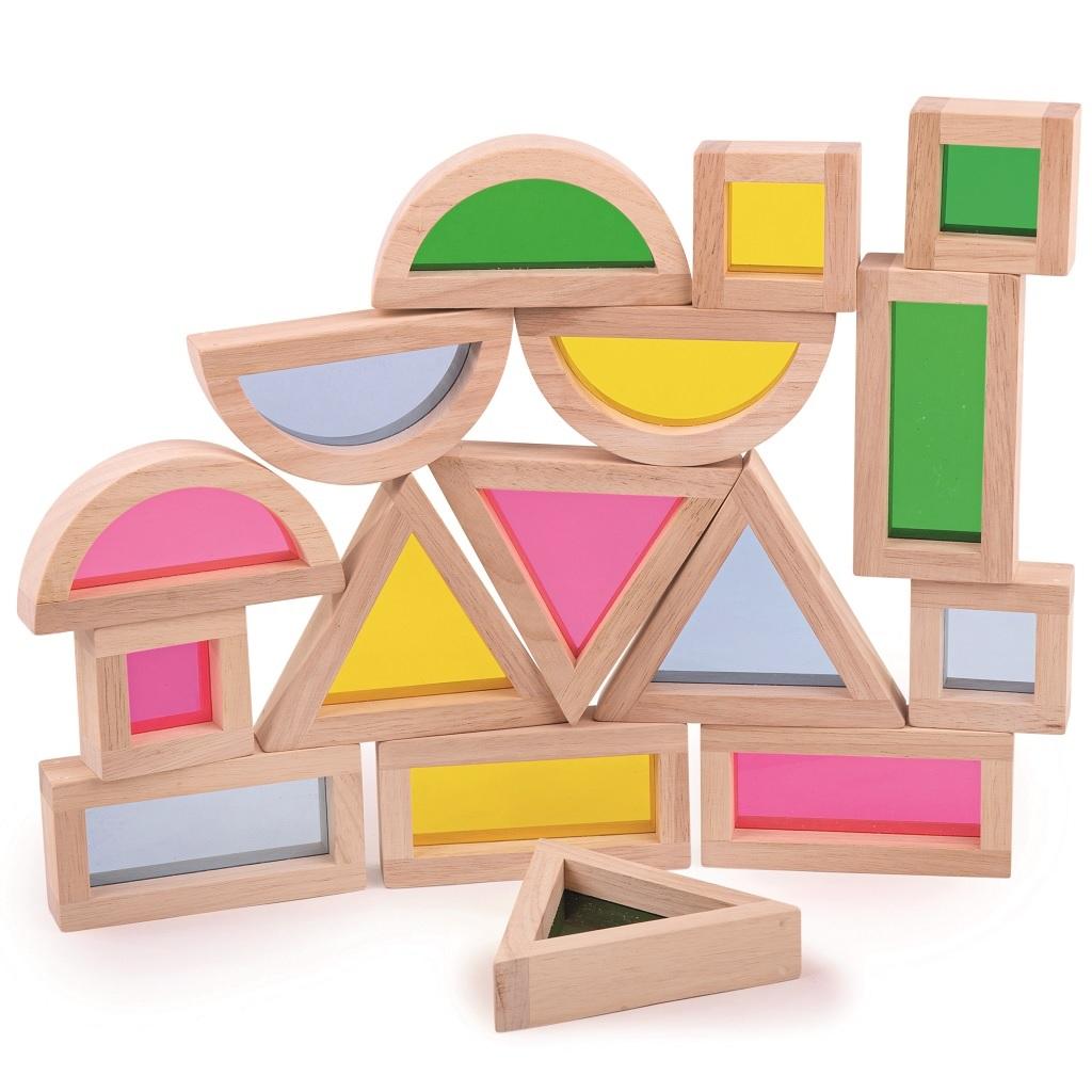 Bigjigs Toys Barevné tvary senzorické přírodní