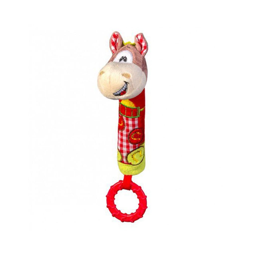 Plyšová pískací hračka s kousátkem Baby Ono koník - červená
