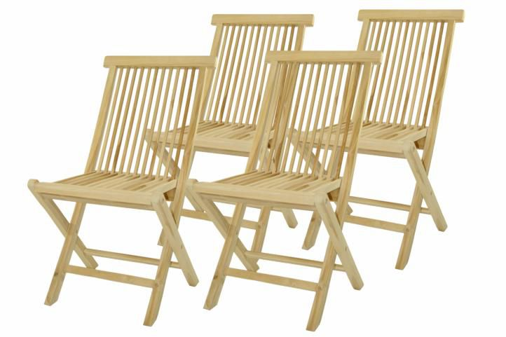 Skládací židle z týkového dřeva DIVERO, 4 kusy