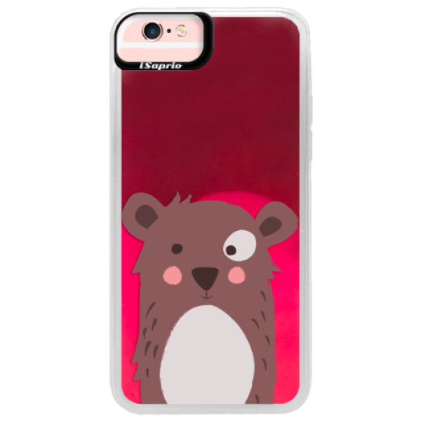 Neonové pouzdro Pink iSaprio - Brown Bear - iPhone 6/6S