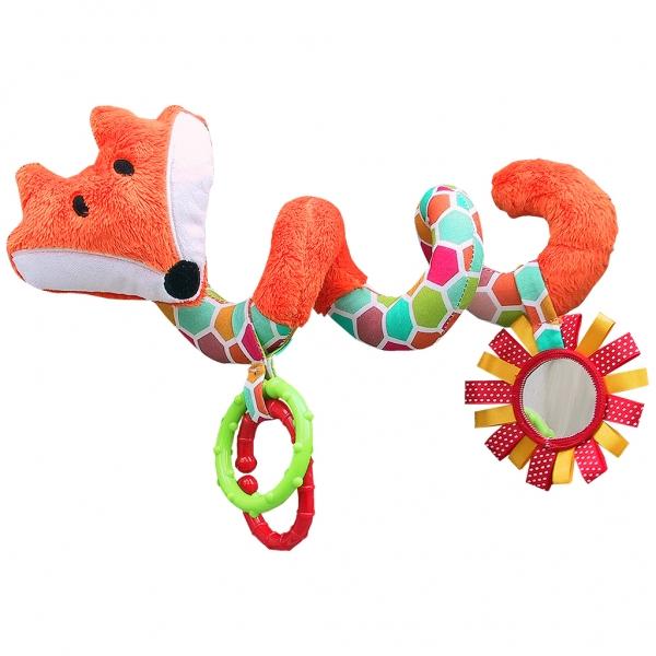 hencz-toys-edukacni-hracka-hencz-s-chrastitkem-a-zrcatkem-liska-spiralka-oranzova